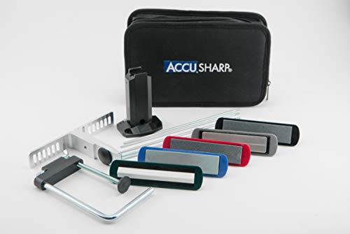 AccuSharp Precision Knife Stone Sharpening Kit w/ Clamp & Pouch - Portable Knife Sharpener for...