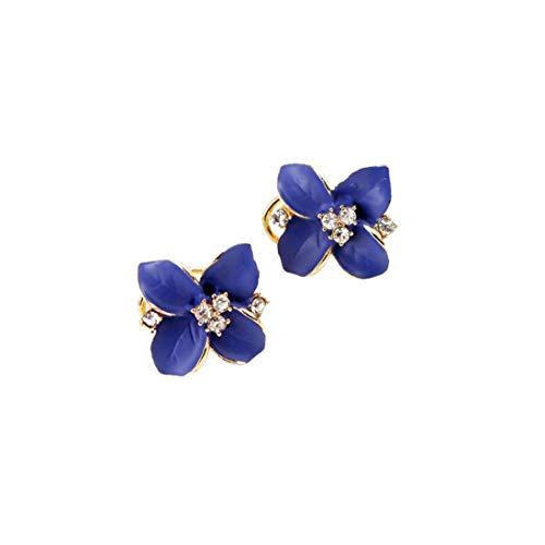 Naicasy Las Mujeres de Moda de la Camelia del oído cristalino Encantador Joyas Pendiente Azul 1 par