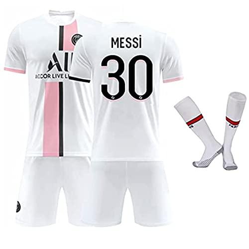 Paris-Messi -30 Adultes et Enfants Maillot Ensemble, Respirant et Maillot de Football Ensemble d'entraînement Paris Extérieur Messi Vêtements de Football, Maillot PSG 30 (Blanche, Kids 28)