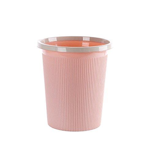 Bote de basura casero Basura de plástico extraíble, Cubo de Basura, Estilo europeo simple Cocina de interior Sala de estar Cuarto de baño Dormitorio Papelera Oficina de estudio Basurero, Rosa Contened