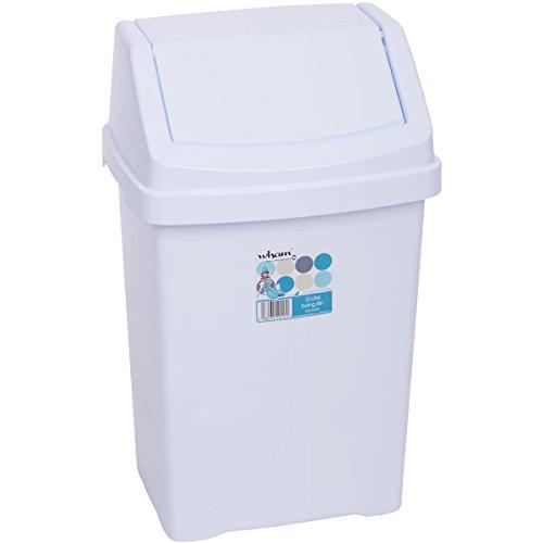 Mülleimer mit Schwingdeckel, 15 Liter, robust, 29x23 cm, weiss: Abfalleimer Eimer Papierkorb Abfallsammler