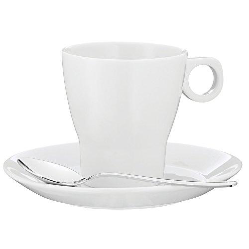 WMF Barista Café créme Tasse 150 ml, Kaffeetasse mit Untertasse und Löffel, Kaffeeglas, Porzellan, spülmaschinengeeignet