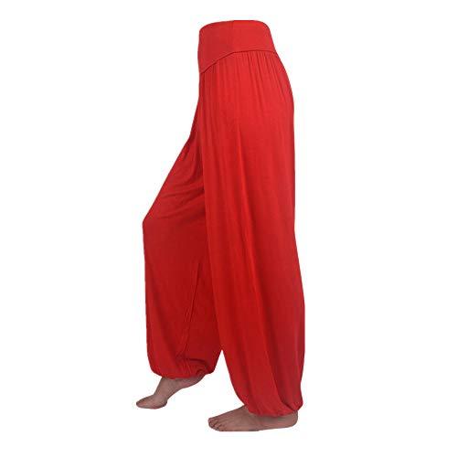 FEYTUO Pantalones de Yoga Mujer,Pantalones de Yoga Algodón Suave Piernas Pantalones Anchos Sólido Color Elástico Pretina Pantalones Bombachos de Fitness Bailan Deportivo para Mujeres,Negro