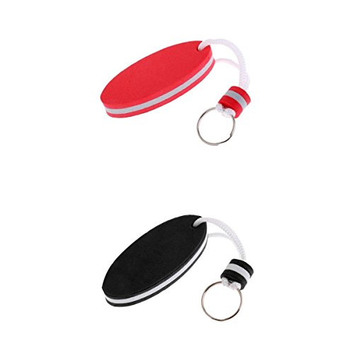 Générique MagiDeal 2pc Porte-clé Flottant en Mousse Bateau Kayak Clé Accessoire Forme Ovale - Rouge,Noir