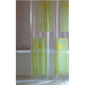 wohnideenshop Duschvorhang Steli transparent grün gelb orange 180cm breit x 200cm lang Vinyl inkl. Ringe