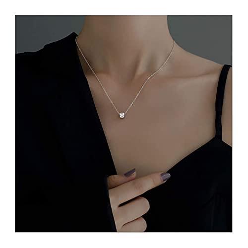 WYZQ Joyas Collar de Cintura pequeña de Plata de Ley 925, Collar de clavícula geométrica cilíndrica, Regalo de San Valentín/Declaración de Regalo de la Madre (Plata), Joyas