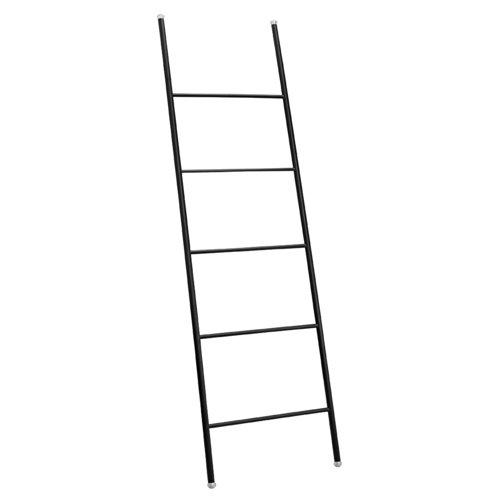 iDesign Escalera decorativa, toallero grande de metal resistente, toallero escalera con cinco peldaños para colocar toallas, mantas o revistas, negro mate