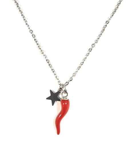 Moda Mavilla Collana donna in acciaio con corno e stella pendolo personalizza Lavorata a mano Made in Italy