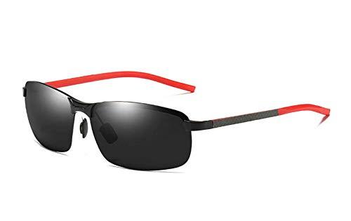 HYFZY Gafas de Sol, Nuevas Gafas de Sol polarizadas para Hombre, de Medio Marco, Gafas de Sol de Fibra de Carbono, Gafas de Montar Deportivas,Black