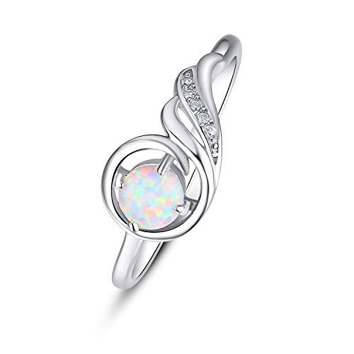Anello opale in argento Sterling 925 con opale Phoenix Anello in oro bianco per donne e ragazze e Argento, 61 (19.4), cod. HX-R-0072
