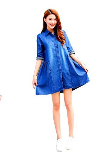 Umstandskleidung Damen Umstands Shirt Large Size Umstandskleid Jeansrock Revers Lose A-Linie Kleid - Blau_S