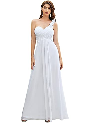 Ever-Pretty Mujeres Falda Larga de Cóctel Vestido de Fiesta Noche Dama de Honor Elegante 48 Blanco