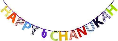 Happy Hanukkah Banner Chanukah Striscione Decorativo per Feste Hanukkah