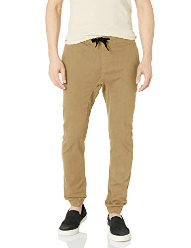 Southpole Men's Basic Stretch Twill Jogger Pants-Reg and Big & Tall Sizes, Deep Khaki, Medium
