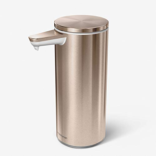 Price comparison product image simplehuman ST1046 266ml Rechargeable Liquid Soap Sensor Pump,  Rose Gold High-Grade Stainless Steel,  W 7.0cm x H 17.2cm x D 11.2cm