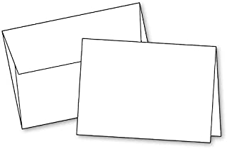 "Blank White Invitation Cards with Envelopes All Occasions, (10""x7"") 5""x7"" When Folded, Scored, Heavy Duty Quality Cardstoc..."