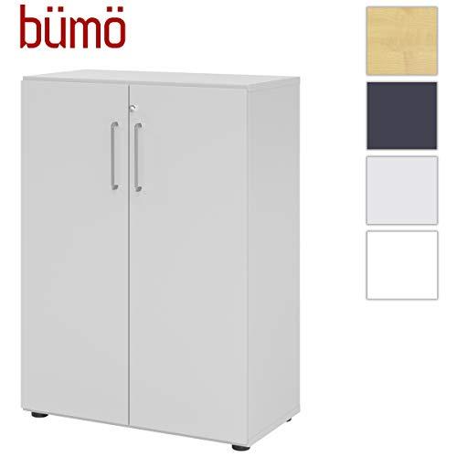 bümö® smart Aktenschrank abschließbar aus Holz   Büroschrank für Aktenordner   Büro Schrank System für Ordner   Flügeltürenschrank inkl. Einlegeböden (Grau, 3 Ordnerhöhen)