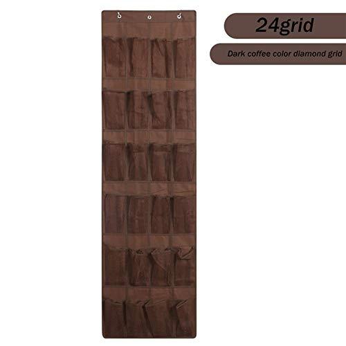 FWKTG Organizador de Zapatos para Colgar en Puertas, para Colgar sobre Puertas Organizador de 24 Bolsillos para (Color : Dark Coffee)