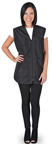 Betty Dain Professional Zip Front Salon Stylist Vest, V-Neck, Iridescent Fabric, Adjustable Belt, Two Lower Pockets with Zippered Bottoms, Lightweight, Machine Washable Nylon, Black, 2XL
