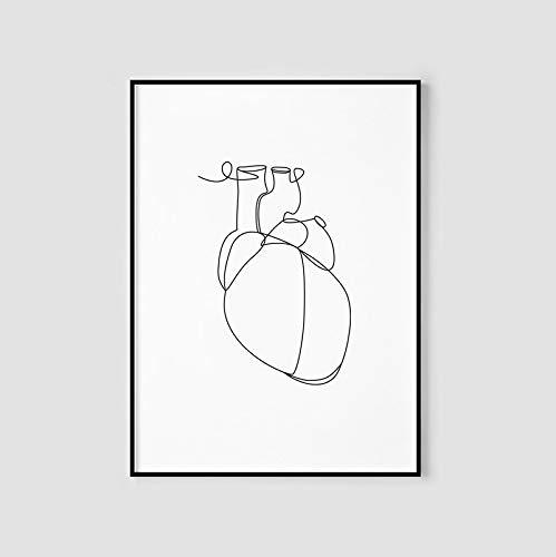 Arte de corazón anatómico,pintura de línea de corazón humano,mural imprimible abstracto,pintura decorativa sin marco de familia de arte de una línea médica A96 70x100cm