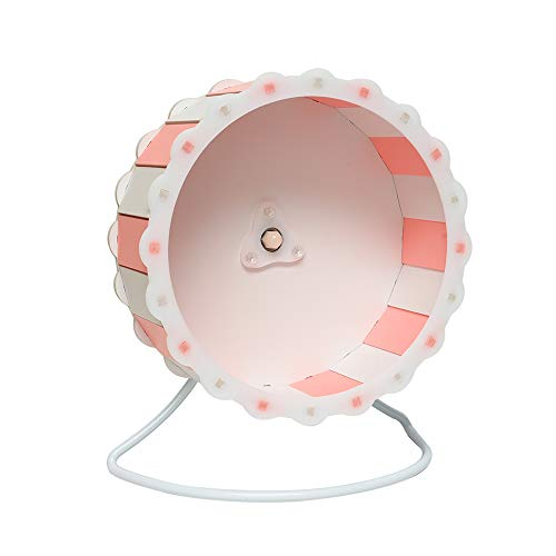Petzilla Quiet Hamster Exercise Wheel Silent Spinner, Made of Wood, Stand Included, Sunflower Design (9', Pink-White)