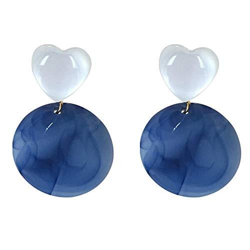 Yhhzw Pendientes De Gota En Forma De Corazón Azul Acrílico Para Mujer Pendientes De Joyería De Círculo Dulce Regalos