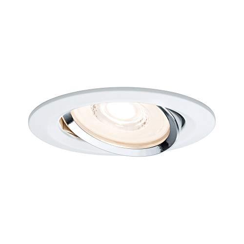 Paulmann 93945 Einbauleuchte LED Reflector Coin flache Einbaustrahler 6,8W Deckenspot Weiß dimmbar und schwenkbar Akzentbeleuchtung