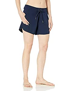"""Nautica Women's Solid 4 1/2"""" Core Stretch Boardshort with Adjustable Waistband Cord, Deep Sea Navy, Large"""