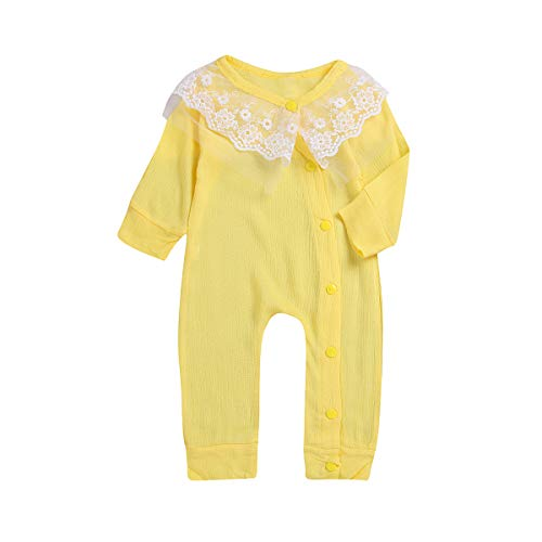 Borlai Pasgeboren Baby Meisjes Kant Romper Lange Mouw Jumpsuit Onesies Bodysuit, 0-18 Maanden