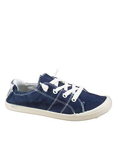 FZ-Comfort-01 Women's Cute Comfort Slip On Flat Heel Round Toe Sneaker Shoes (8.5 B(M) US, Navy)