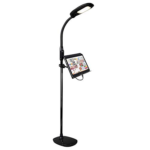 OttLite LED Floor Lamp with USB and Tablet Stand, Black