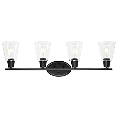 BONLICHT Rustic 4 Lights Wall Sconce Black Bathroom Vanity Light Fixtures with Clear Glass Shade Vintage Industrial Wall Light for Porch Hallway Kitchen Living Room Workshop