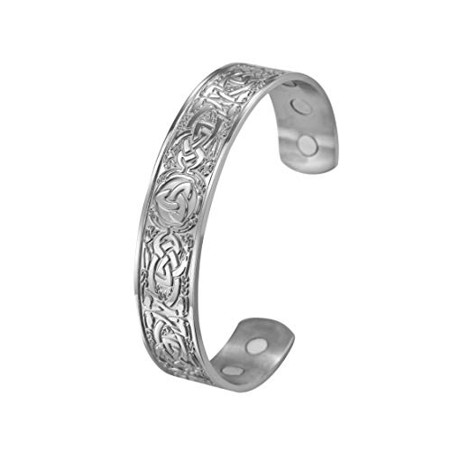 fishhook Viking Nordic Celtic Knotwork Triquetra Dragon Stainless Steel Magnetic Therapy Cuff Bangle Bracelet for Women Men (Silver)