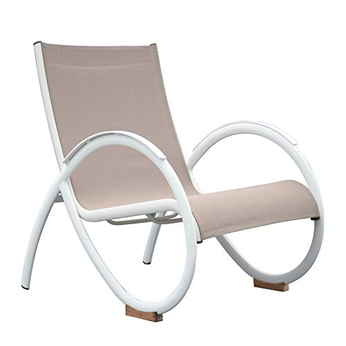 Meubletmoi - Sillón de jardín de diseño en aluminio blanco y revestimiento textilene gris – Mape