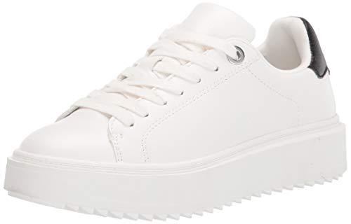 Steve Madden Women's Catcher Sneaker, White Black, 8.5