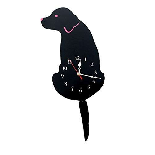 Cartoon Acrylic Wagging Swinging Tail Puppy Dog Home Cafe Shop Decor Wall Clock Ornament Prop Decorations - Black