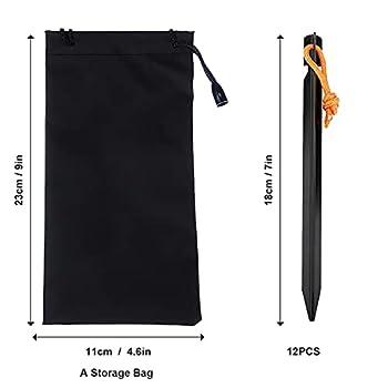 Piquets de Tente 12 pièces, piquets en métal de 18 cm, piquets de Terre pour tentes, piquets de Tente en Aluminium pour sols durs, piquets de Tente Noirs, piquets de Sable pour Le Camping