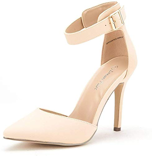 DREAM PAIRS Oppointed-Ankle Women's Pointed Toe Ankle Strap D'Orsay High Heel Stiletto Pumps Shoes Nude Nubuck-sz-10