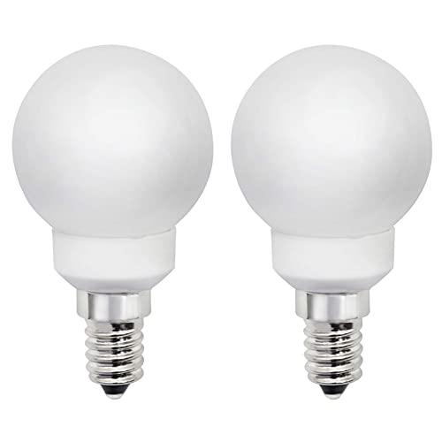 Lot de 2 mini globes LED E14 P45/G45 - 3 W - Remplace les ampoules à incandescence de 30 W - 230 V - Intensité non variable - Blanc chaud 3000 K