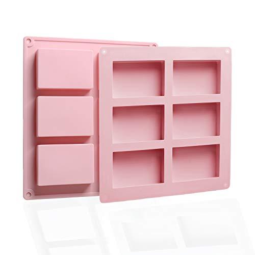 EKKONG Silikonform-2 Stück, Seifenform, Silikon-Formen, 6 Hohlräume Rechteckig DIY Silikon Form für Seifenschalen Kuchen Backen Schokolade Eiswürfel (Rosa)