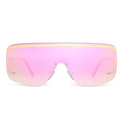JIM HALO Oversized Escudo Gafas de Sol Lente Gradiente Plano Top Sin Marco Borde Anteojos Hombre Mujer(Dorado/Rosa Espejo)