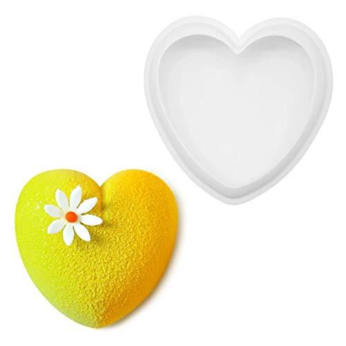 Molde de silicona en forma de corazón, Molde Mousse de la torta del amor del Día de San Valentín 3d, Herramientas de decoración de DIY Postre Mousse, 1pcs,6 inches