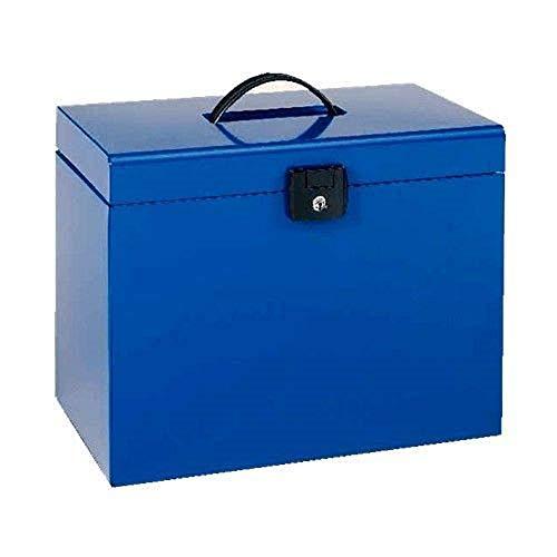 ESSELTE 11895 - Maletín metálico con 5 carpetas colgantes en Kraft DIN A4 color azul