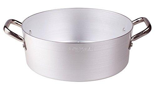 Pentole Agnelli PCMX0640 Casseruola Bassa in Alluminio con 2 Maniglie, Inox, 40 cm