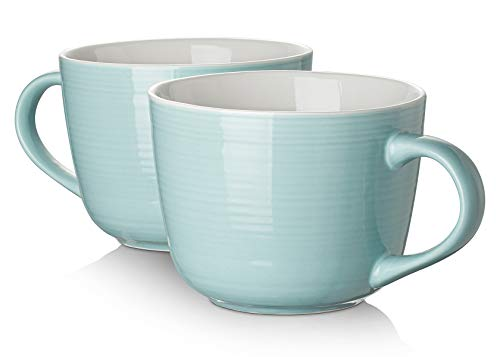 DOWAN Porcelain Large Coffee Mug With Handle Set of 2 - 17 Ounces Microwave and Dishwasher Safe Wide...