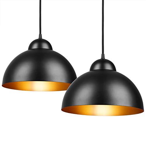 Deuba Lámpara de Techo lámpara colgante industrial vintage lámpara retro 2 unidades Ø 30cm 15W para cocina restaurante sala