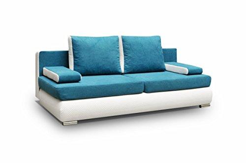 mb-moebel Couch mit Schlaffunktion Sofa Schlafsofa Wohnzimmercouch Bettsofa Ausziehbar - MADAGASKAR (Blau)