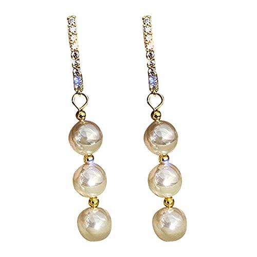 DOUHEN Pendientes de perlas para mujer, pendientes de concha bohemios, pendientes de perlas de imitación de moda
