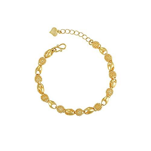 Pulsera para mujerPulsera exquisita suave y hueca de cuentas simples, pulsera chapada en oro de 24 k, delicada joyería personalizada, regalo para mujeres / niñas, oro