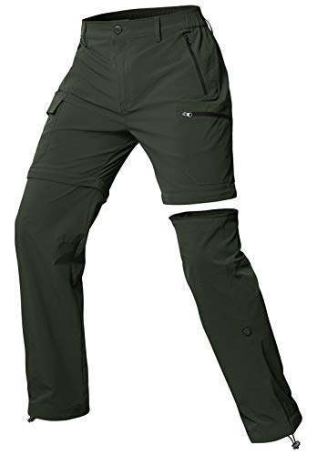 Cycorld Wanderhose Damen Trekkinghose, Atmungsaktiv Zip Off Damen Outdoorhose Abnehmbar Outdoor Hiking Pants mit 5 Tiefe Taschen, für Wandern, Klettern, Reisen und Freizeit (Grün, S)